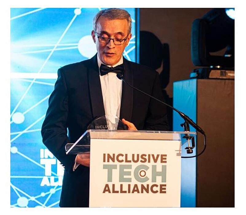 Nasser Siabi at the stage holding Inclusive Tech Awards-2