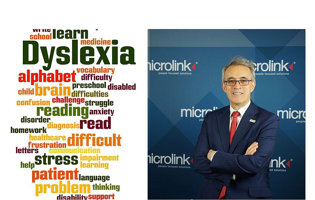 Picture of Nasser Siabi on the right and on the left its written Dyslexia-1